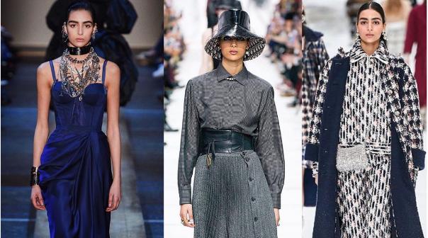 Le mannequin arabe Nora Attal à la fashion week automne-hiver 19-20 lors du défilé Alexander McQueen, du défilé Dior et du défilé Givenchy.