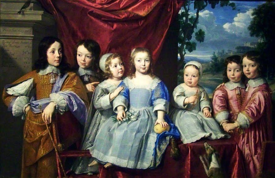 Les enfants Habert de Montmor, par Philippe de Champaigne, 1649 Musée des Beaux-Arts, Reims. À gauche, l'aîné Henri-Louis, dix ans, est vêtu comme un adulte, son frère Jean-Balthazar, sept ans, porte le même vêtement ; à droite, les jumeaux Louis et Jean-Paul, quatre ans, portent la jaquette ; les deux autres garçons, François, vingt-trois mois, à gauche et Jean-Louis, huit mois à droite, portent la robe et le tablier, comme leur soeur Anne-Louise, trois ans six mois, au centre. DR