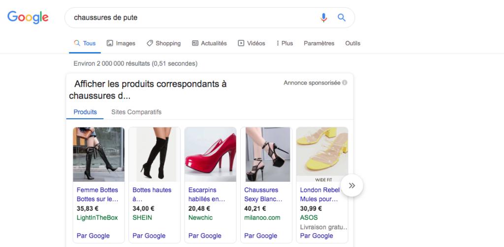 capture d'écran  chaussures google