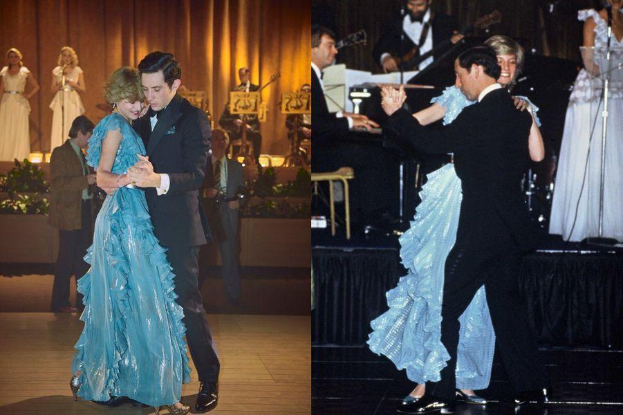 Lady Di en robe de soirée bleue avec le Prince Charles dans The Crown saison 4