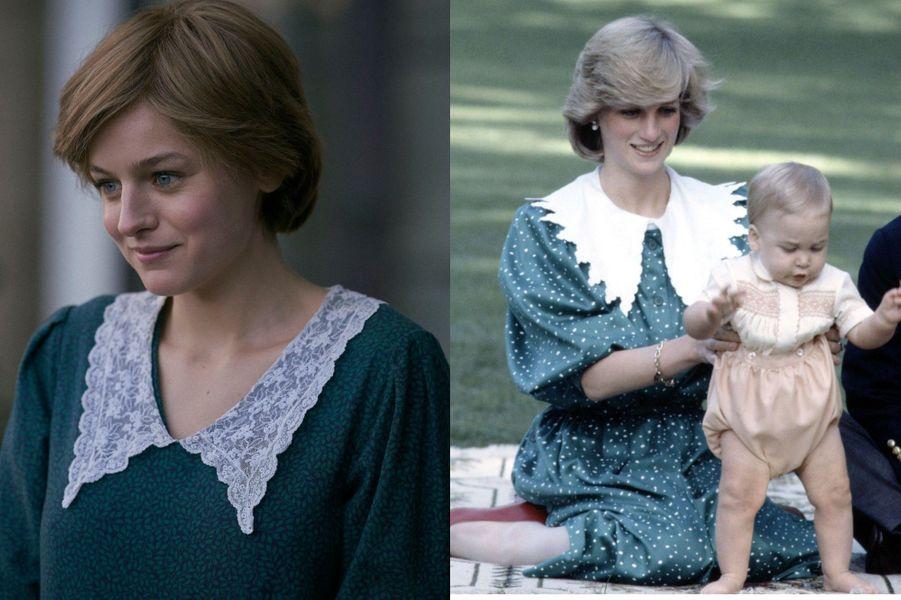 Lady Di en robe à collerette dans The Crown saison 4