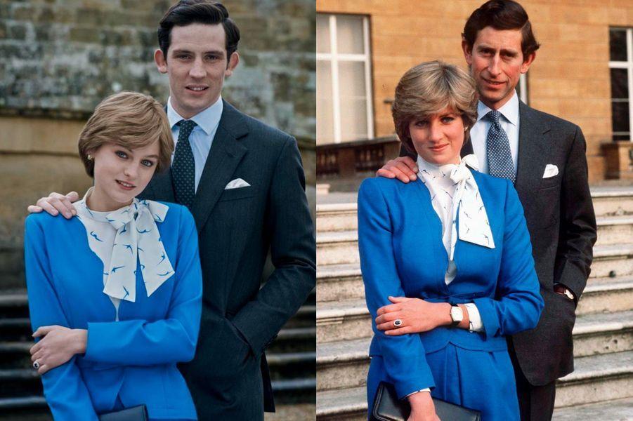 Lady Di en bleu pour ses fiançailles dans The Crown