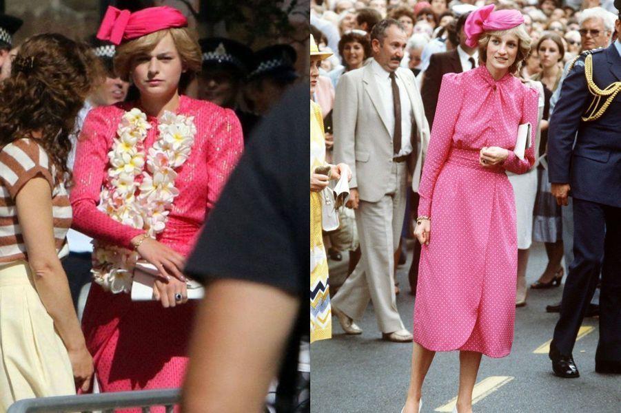 Lady Di en robe de cocktail rose et bibi voilette dans The Crown saison 4