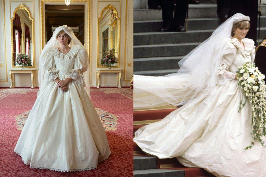 Lady Di en robe de mariée le jour de son mariage dans The Crown saison 4