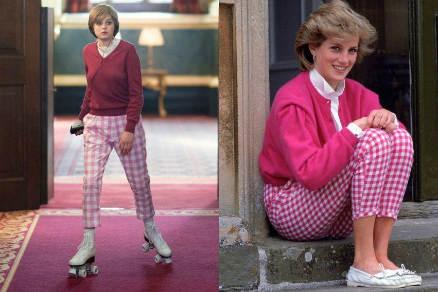 Lady Di en look pull et pantalon vichy rose dans The Crown saison 4