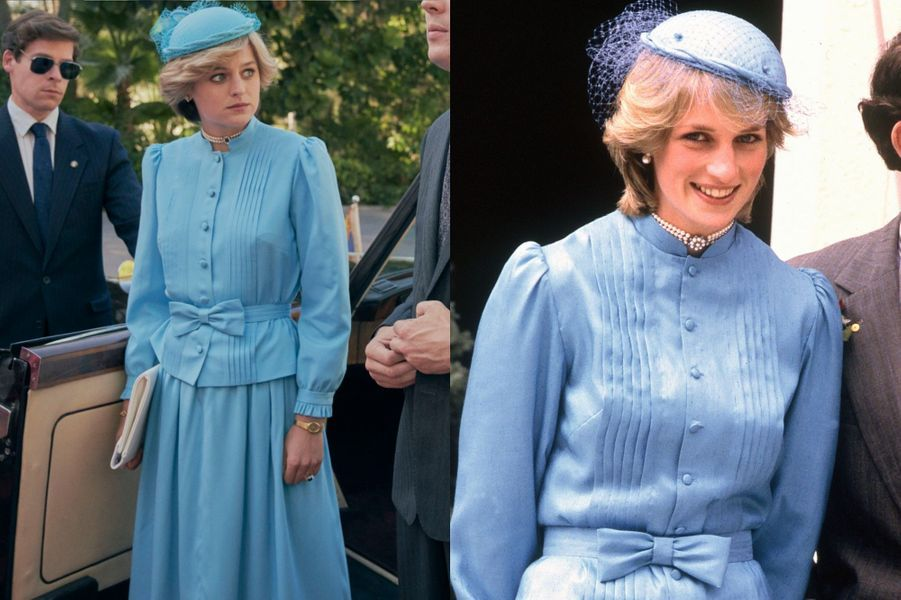 Lady Di en tenue de cocktail bleue et bibi voilette dans The Crown saison 4