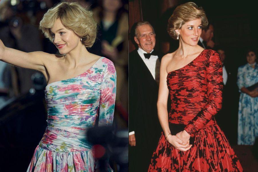 Lady Di en robe de soirée asymétrique à fleurs dans The Crown saison 4