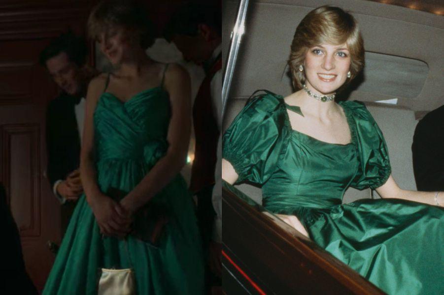 Lady Di en robe de soirée verte dans The Crown saison 4